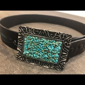 Accessories - Leather belt with silver & turquoise metal buckle